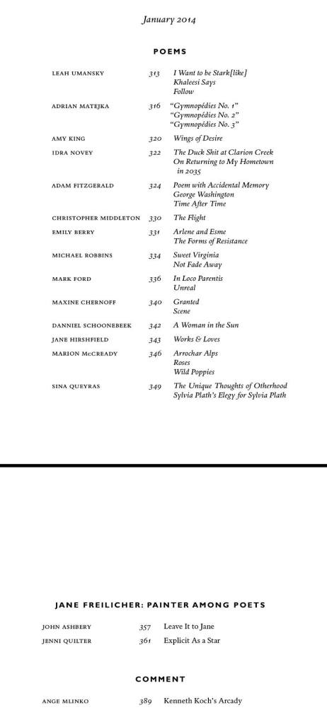 Jan table of contents POETRY 2013