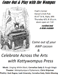 For the off-site Kattywompus Press Reading on April 9. [RSVP: https://www.facebook.com/events/422126877943464/]